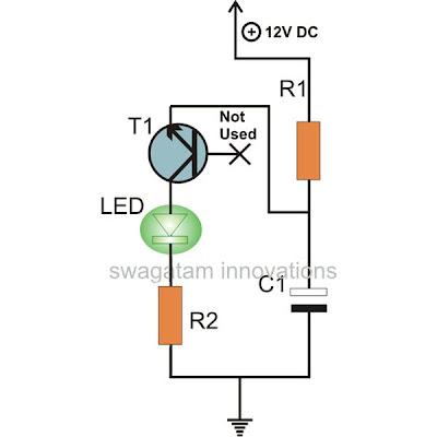 LED flasher circuit using single transistor