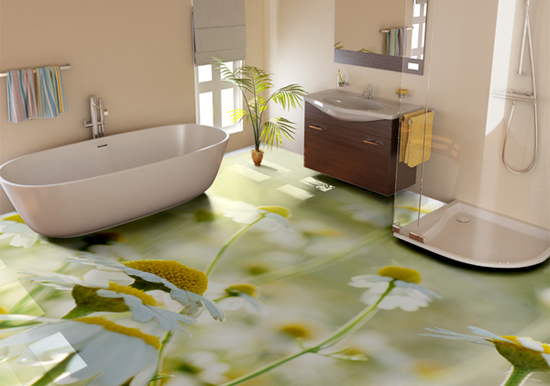 floral 3D flooring ideas, 3D bathroom floor murals, 3d epoxy floor