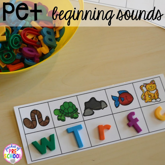 Pet themed activities and centers (freebies too) for preschool, pre-k, and kindergarten (math, writing, letters, rhyme, sensory, art, blocks, STEM, dramatic play).