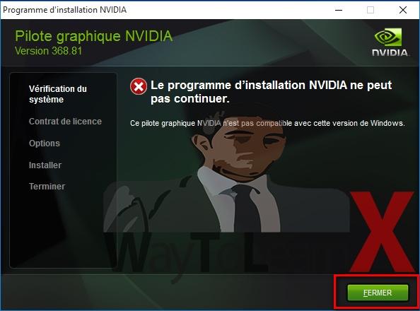 [Résolu] Échec d'installation du pilote nvidia sur windows 10