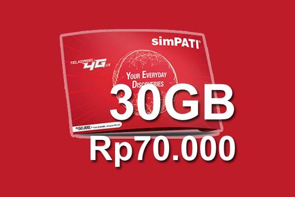 Kode Dial Terbaru Paket Internet Telkomsel simPATI 4G Murah 30GB Hanya 70.000