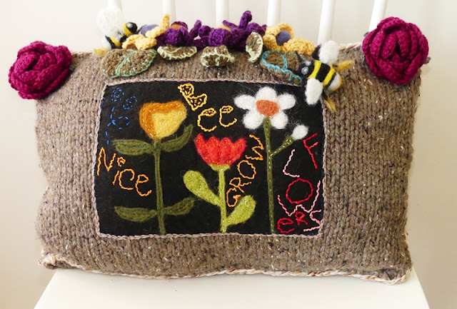 Bee Nice Grow Flowers... Folk Art Pillow by Minaz Jantz