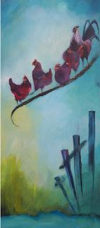 kunst, maleri, glade farver, positiv, sladder, art, 1 fjer bliver til 5 høns, H C Andersen