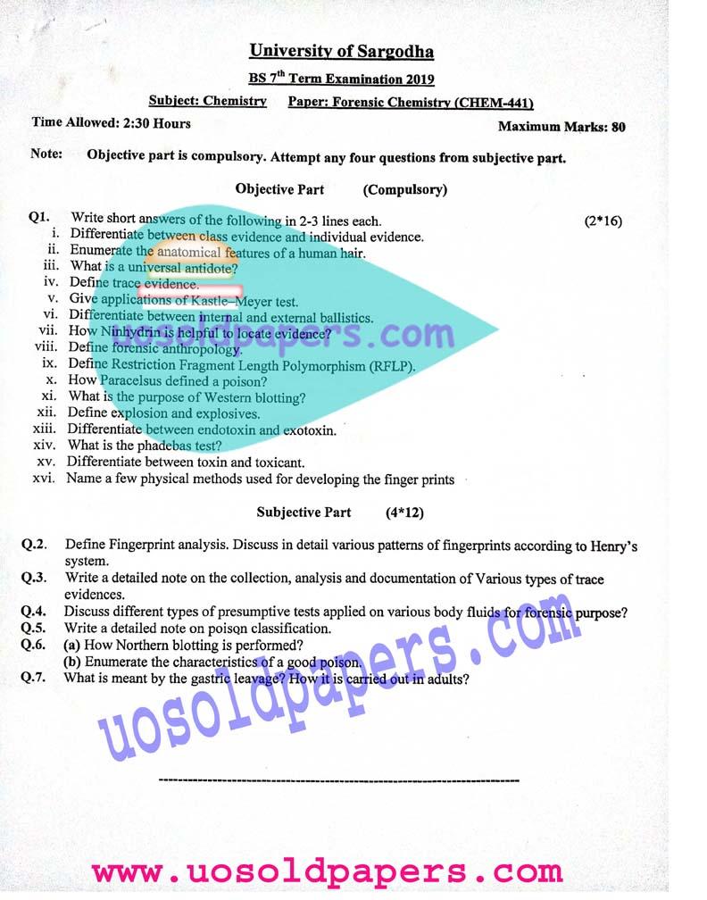 CHEM-441: Forensic Chemistry, BS Chemistry, Term System Exam