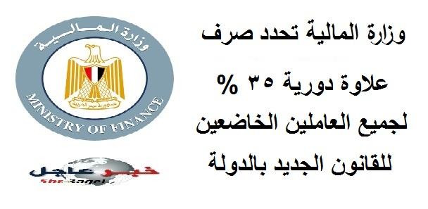 وزارة المالية - صرف علاوة دورية 35 % تراكمية للموظفين بالدولة مع مرتب شهر نوفمبر بأثر رجعى