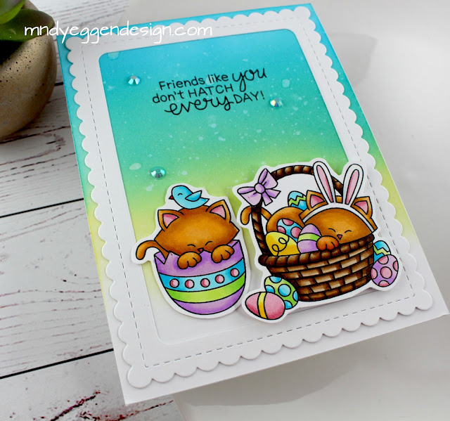 Easter Card by Guest Designer Mindy Eggen | Newton's Easter Basket Stamp Set by Newton's Nook Designs #newtonsnook #handmade
