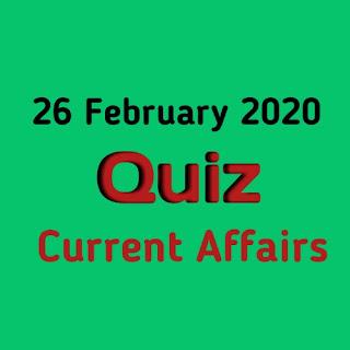 Current Affairs Quiz in Hindi - 26 February 2020