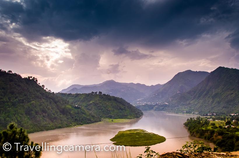 View of Chamera Lake for boating around Dalhousie, Himachal Pradesh