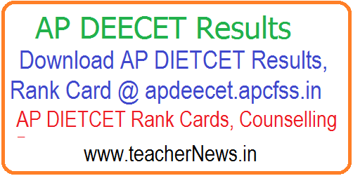 AP DEECET/ DIETCET 2018 Results – Download Manabadi AP DIETCET Results, Rank Card @ apdeecet.apcfss.in