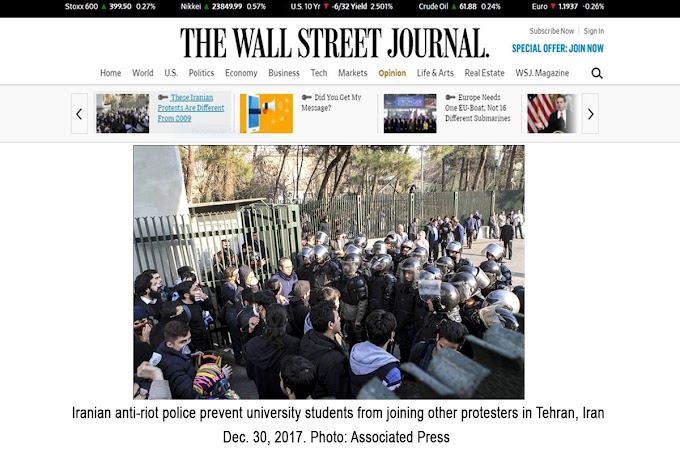 Maryam Rajavi's Opinion in Wall Street Journal: These Iranian Protests Are Different From 2009