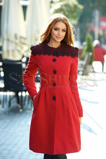 Palton Dama Lung Rosu