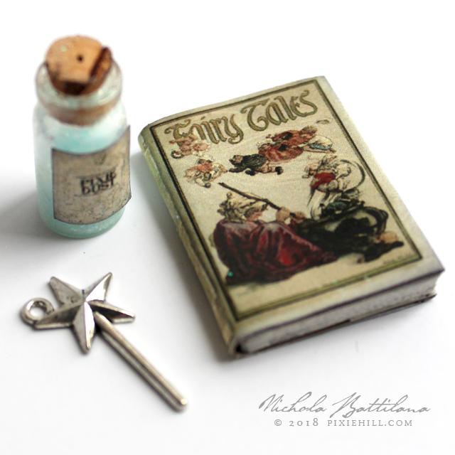 Miniature book of Fairy Tales, vial of Pixie Dust and wand charm - Nichola Battilana pixiehill.com