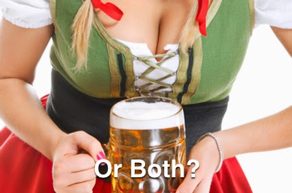 A stein of beer and some boobs