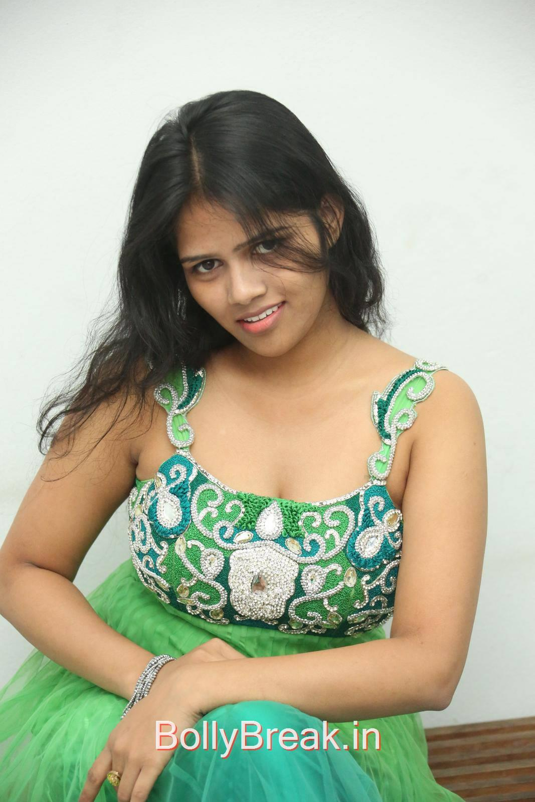 Telugu Actress Lucky, Lucky Hot Pics In Green Dress from Calling Bell Movie Audio Release Event