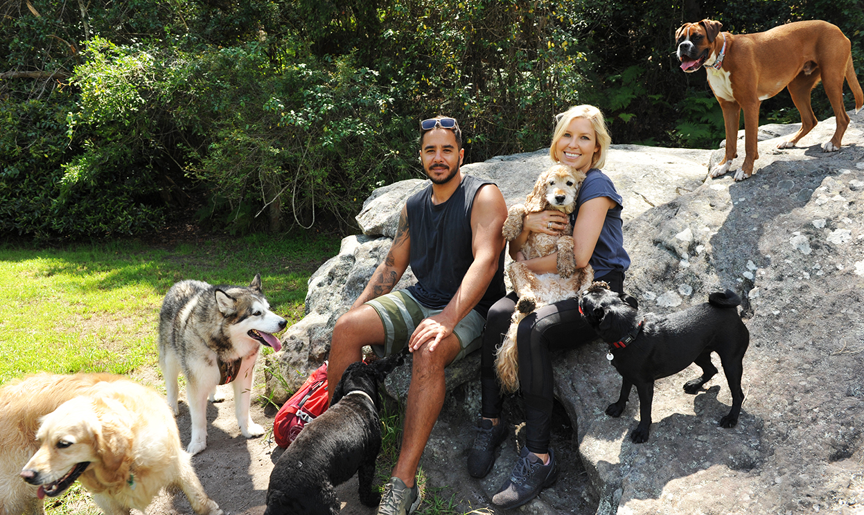 Barc for Pets - Marc and Bec with dogs enjoying a day adventure hike in Sydney