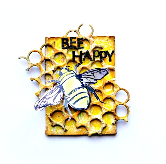 Tissue Paper Covered Artist Trading Card with Yellow Watercolor Pencil and Stamped Bee