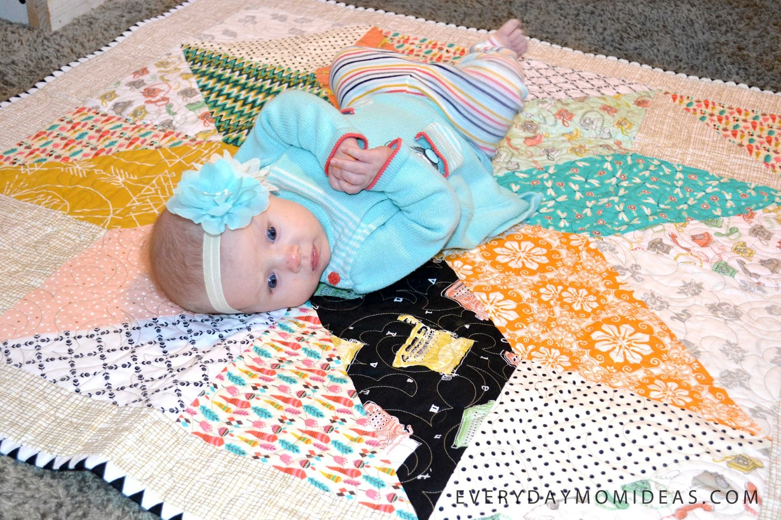 Easy beginner baby quilt with simple steps free patchwork you can also use it for large quilts as well i used this lone star baby quilt tutorial by amy smart at diary baditri Choice Image
