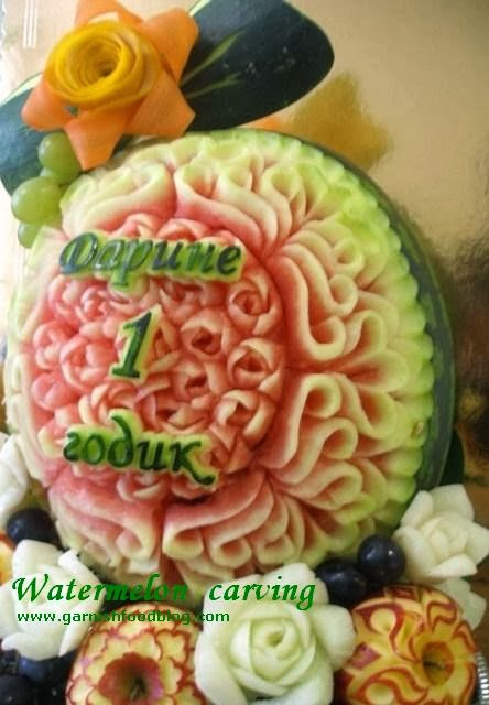 watermelon carving design with a bow