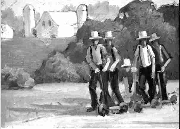 tableau Jeunes Amish en Trottinettes