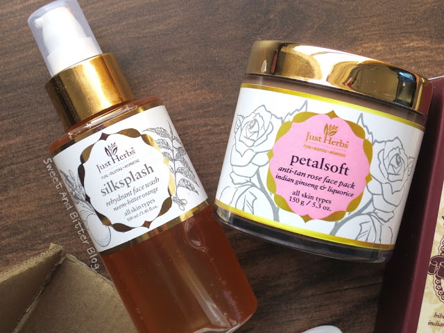 Just Herbs Silkplash Face Wash and Petalsoft Anti-Tan Rose Face Mask