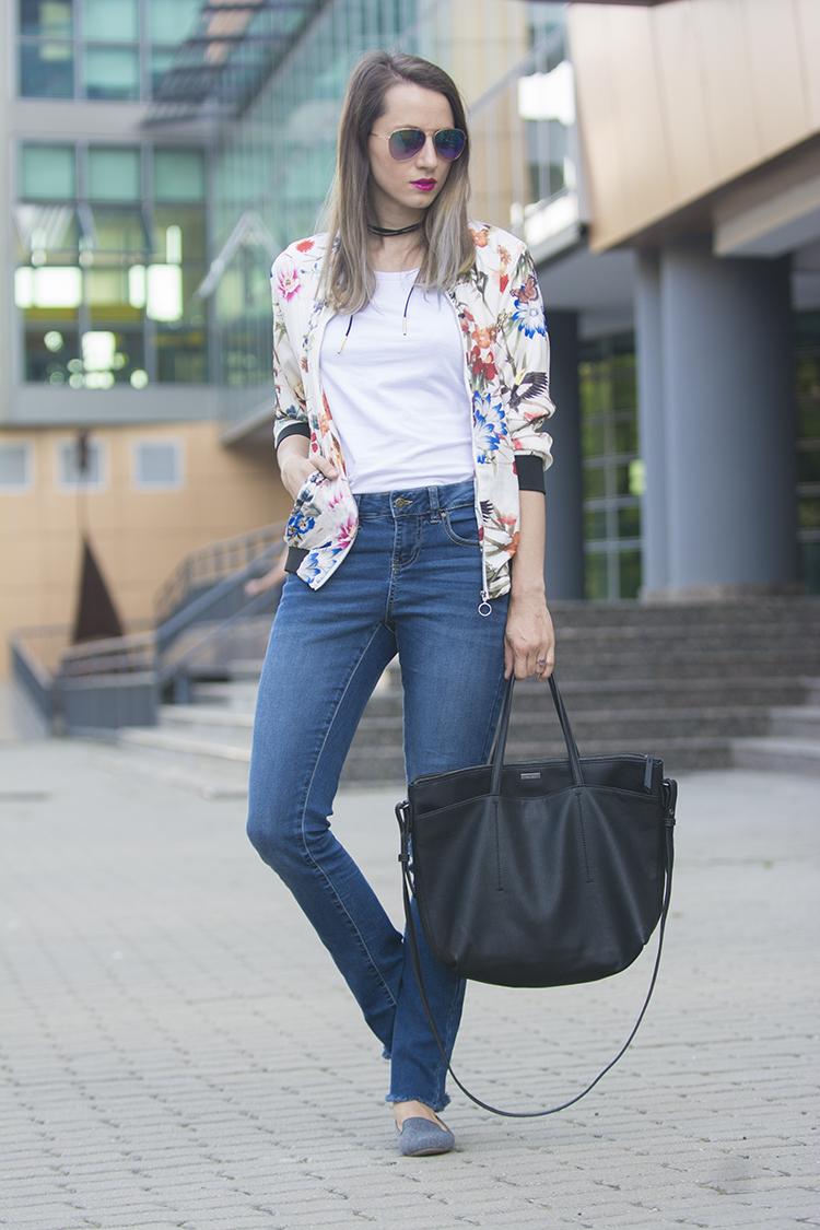 floral birds bomber jacket diy frayed jeans