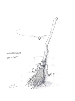 Inktober 2017 Harry Potter Day 1 Swift Nimbus 2000 Snitch