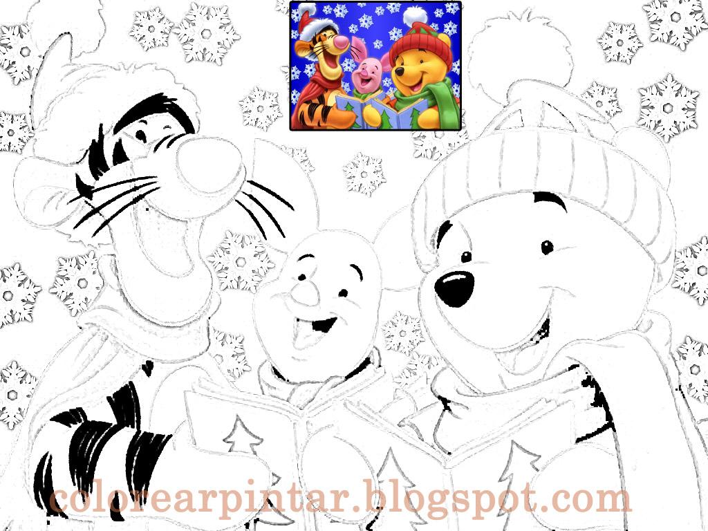 Magnífico Pooh Bear Navidad Para Colorear Adorno - Dibujos Para ...