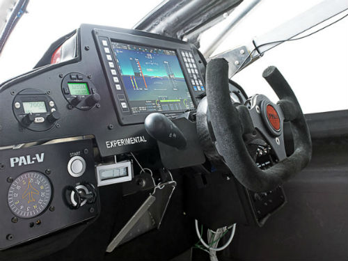 Inside the PAL V Cockpit Interior Showcases a Steering Wheel and Primary Flight Display
