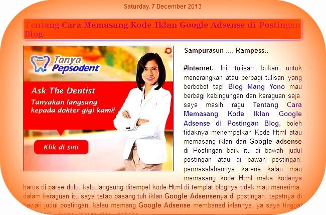 Tentang Cara Memasang Kode Iklan Google Adsense di Postingan Blog