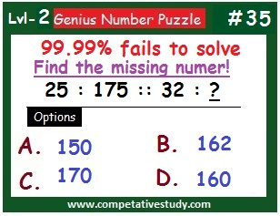 Math Puzzle: Find the missing number: 25 : 175 :: 32 : ?