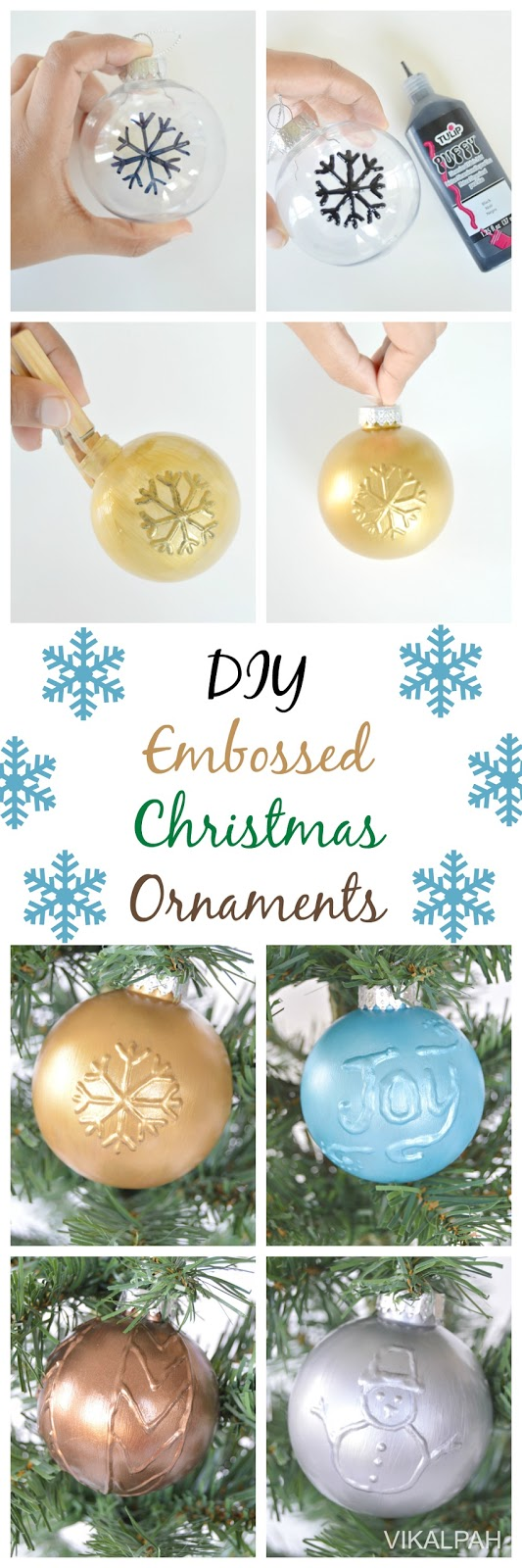 Embossed Christmas ornaments using puffy paint