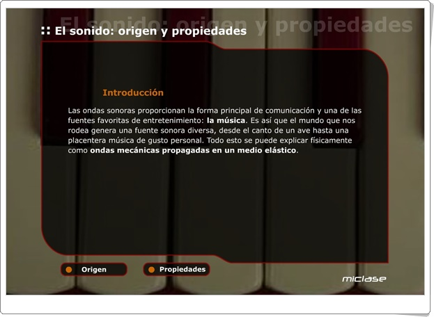 """""""El sonido: origen y propiedades"""" (Aplicación interactiva)"""