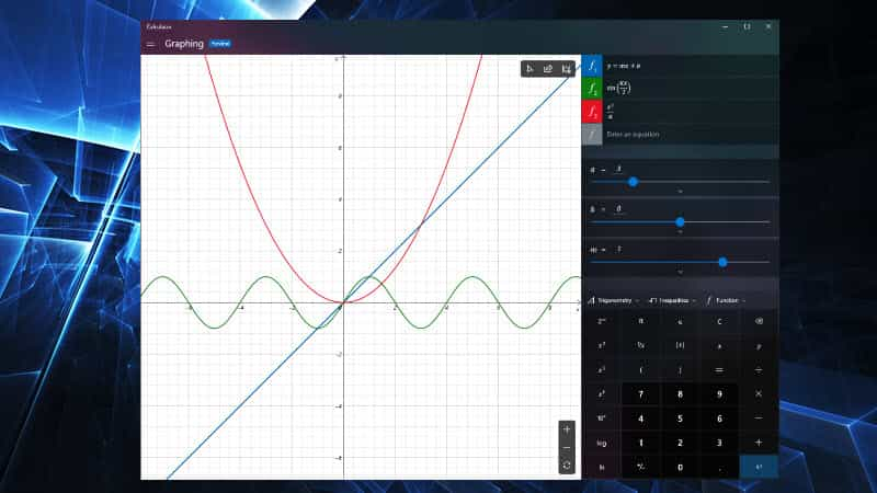 Microsoft previews new Graphing capabilities in Windows 10 calculator app