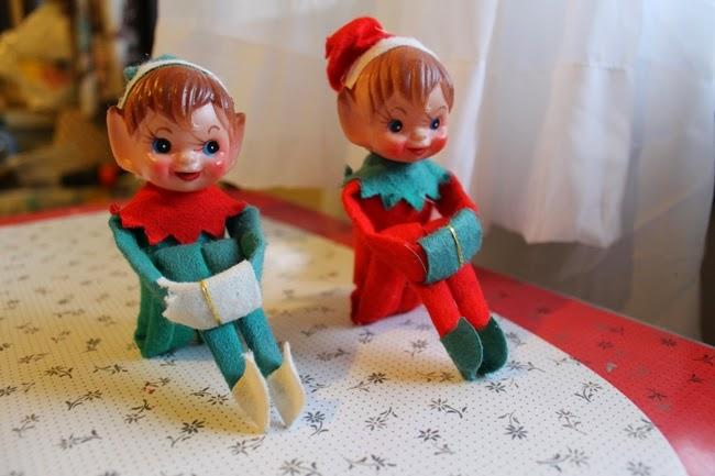 vintage 1950s elf on a shelf retro pixie christmas ornament