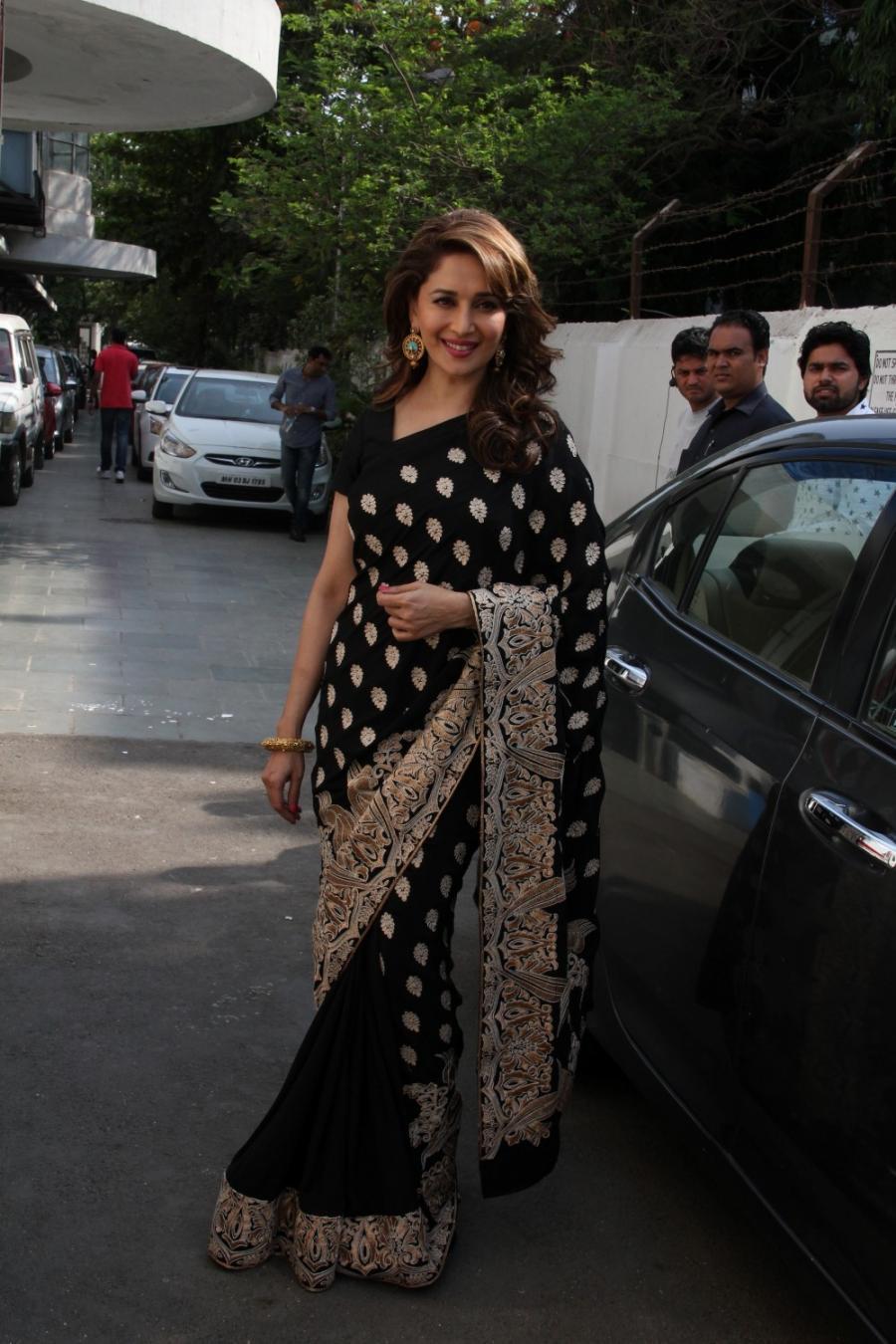 Bollywood Actress Stills In Black Saree Madhuri Dixit