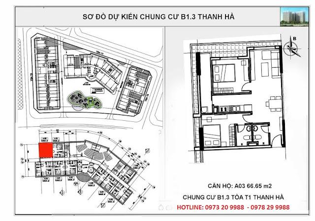 Sơ đồ mặt bằng chi tiết căn hộ A03 tòa T1 chung cư B1.3 Thanh hà