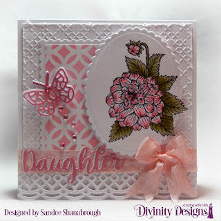 Divinity Designs Stamp Set: Grandmother's Heart, Embossing Folder: Cross Stitch, Custom Dies: Scalloped Squares, Scalloped Ovals, Beautiful Borders, Family Names 2,  Bitty Butterflies, Mixed Media Stencil: Circles, Paper Collection: Pretty Pink Peonies