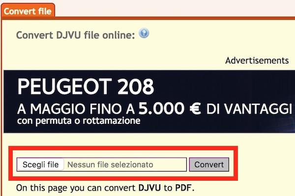 servizio online conversione file djvu in pdf gratis