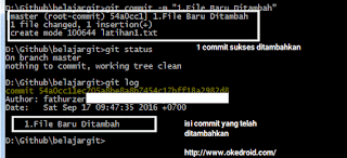 git commit and git log cmd windows
