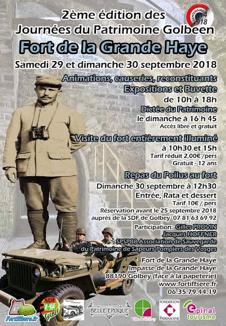 GOLBEY (88) - 2e Edition des Journées du Patrimoine au Fort de la Grande Haye (29-30 sept 2018)