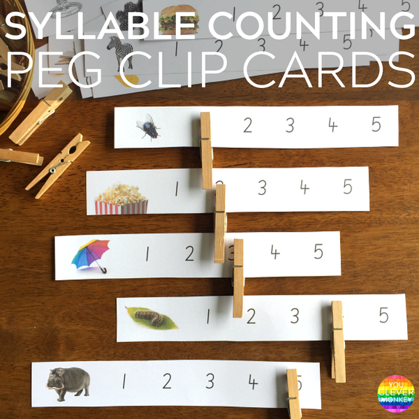 Syllable Counting Peg Clip Cards | you clever monkey