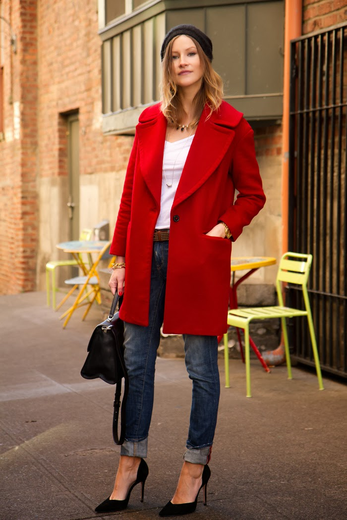 Fashion Blogger, Alison Hutchinson is wearing a red zara coat, rich & skinny slouchy skinnies, a white witchery tee, zara black pumps, a kate spade carrol park penelope bag, and a michael kors watch