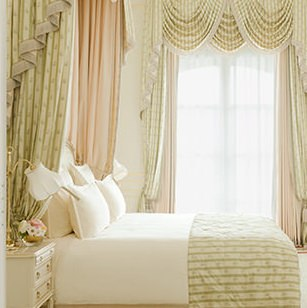 Breathtaking feminine pale pink and green suite in renovated Ritz Paris