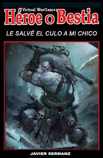 Portada de Le salvé el culo a mi chico, de Javier Sermanz, donde en un fondo negro, hay la imagen de un guerrero bárbaro luchando con una gran hacha.