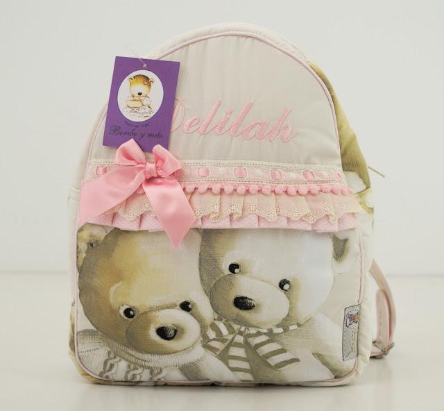 mochila guarderia osos rosa