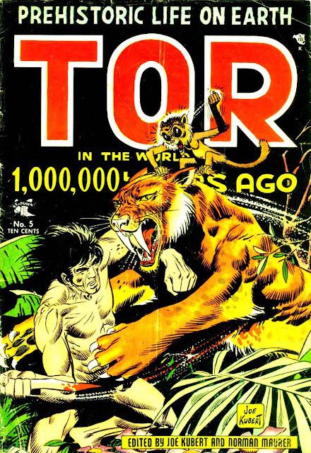Tor v1 #5 st john golden age comic book cover art by Joe Kubert