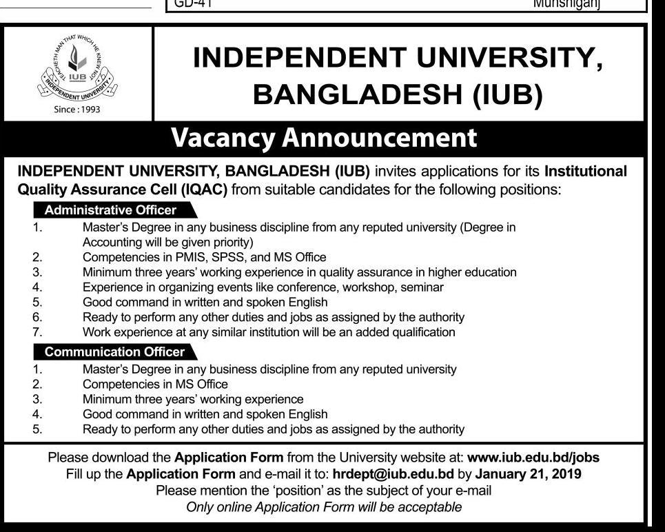 Independent University, Bangladesh (IUB) Job Circular 2019