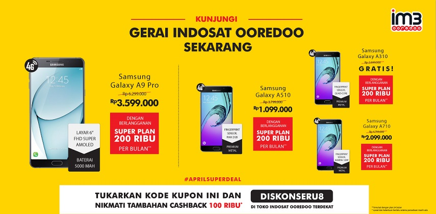 Indosat Ooredoo Promo 4 Samsung A series (2016)