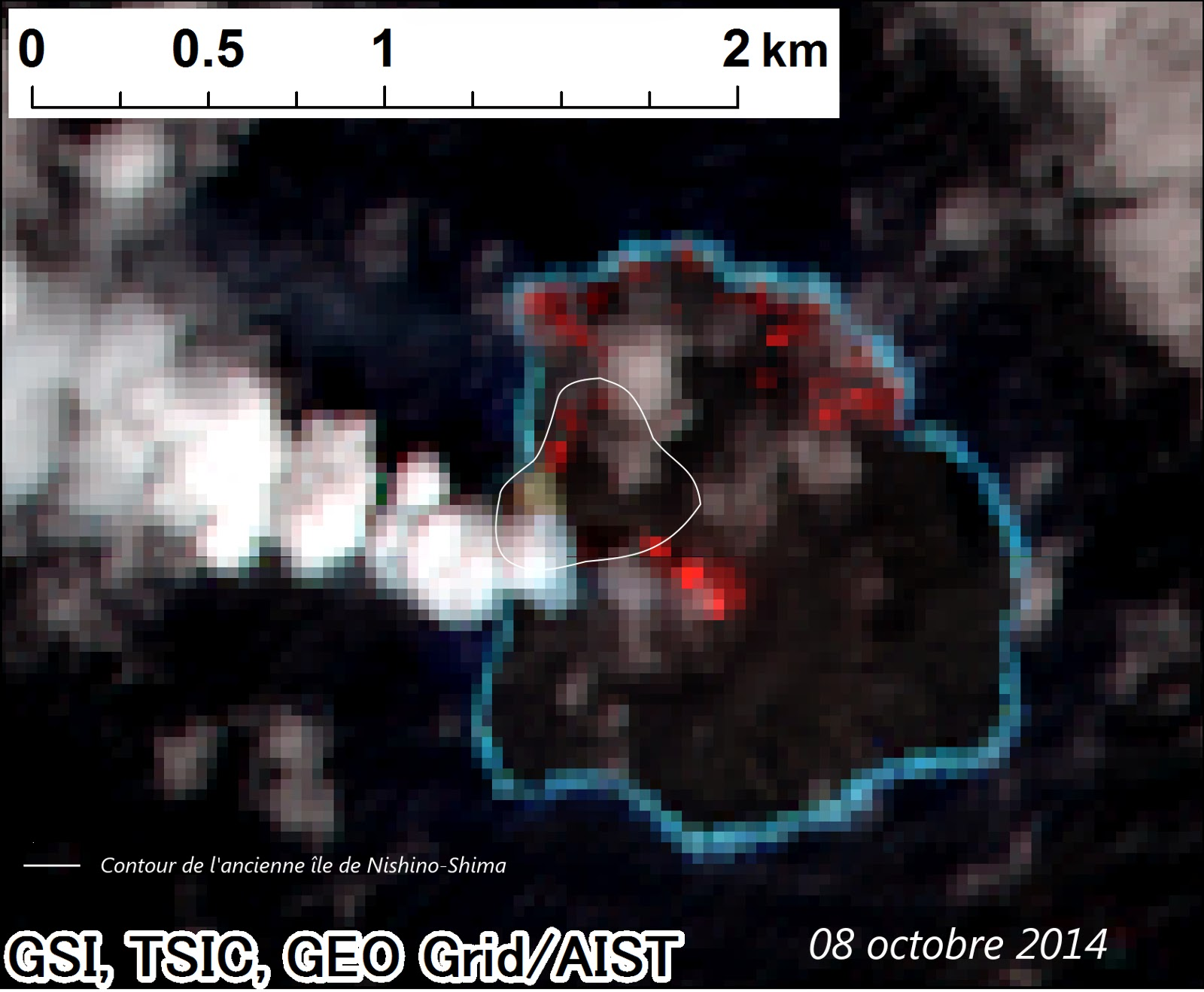 Image satellite du volcan Nishino-Shima et de son éruption, 08 octobre 2014