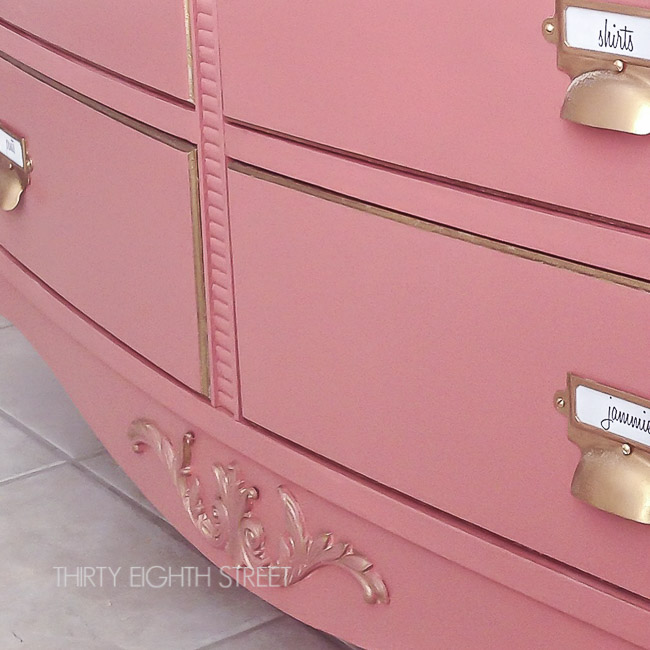 gold hardware, pink dresser, pink furniture, best pink paint color, pink painted furniture, chalk paint, annie sloan Scandinavian pink